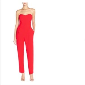 Red Strapless Jumpsuit - Adelyn Rae